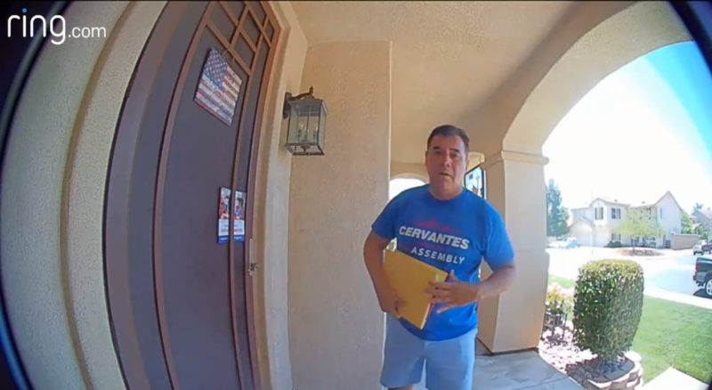 Campaign worker for Assembly Member Sabrina Cervantes caught on video stealing rival candidate's campaign literature.